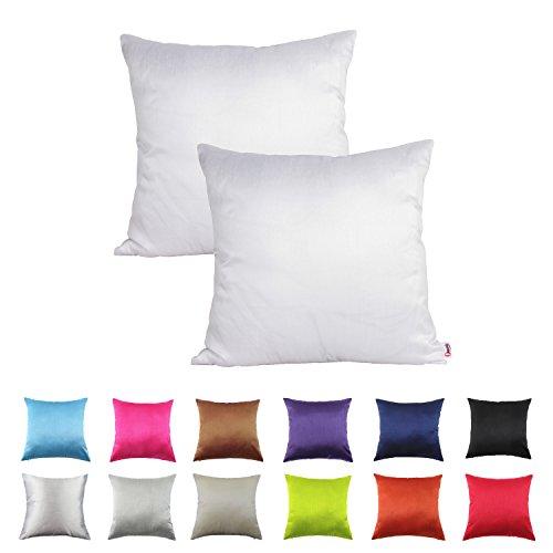 Queenie® – 2 Pcs Solid Color Faux Silk Decorative Pillowcase Cushion Cover for Sofa Throw  ...
