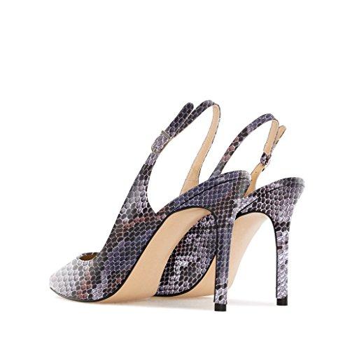 Eldof Women High Heels Pumps | Pointed Toe Slingback Stiletto | 10cm Classic Elegante Court Shoes Python-purple vnySstE