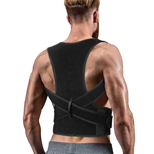 Back Brace Posture Corrector for Women Men - Back Lumbar Adjustable Support Shoulder Posture Support for Improve Posture Provide and Back Pain Relief - for Lower and Upper Back Pain M(25''-33''in waist)