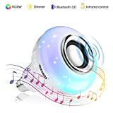 Texsens LED Light Bulb Bluetooth Speaker, 6W E26 RGB Changing Lamp Wireless Stereo Audio with 24 Keys Remote Control