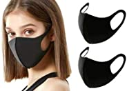[12-Pack] Black Unisex Single-Layer Reusable and Washable Polyester Face Masks | Soft and Comfortable Face Cov