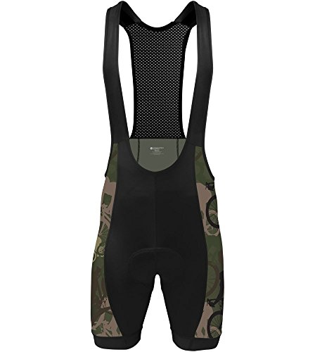 Woodland Spandex Shorts - Woodlands Camo Cycling Bib Shorts - Made in the USA (Large)