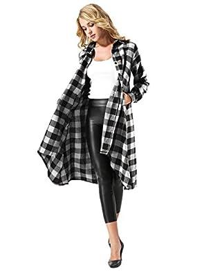 Women's Long Sleeve Button Down Plaid Irregular Hem Casual Shirt Dress
