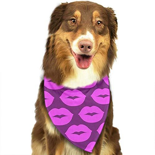dolphin Ty Dog Bandana Scarf Purple Lips Triangle Bibs Printing Kerchief Set Accessories Dogs Cats Pets -