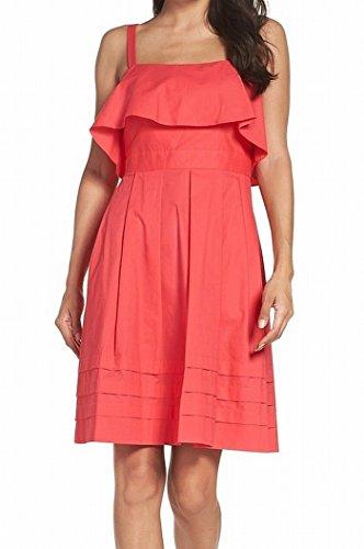 Eliza J Women's Ruffle Pleated Stripe A-Line Dress Pink 6