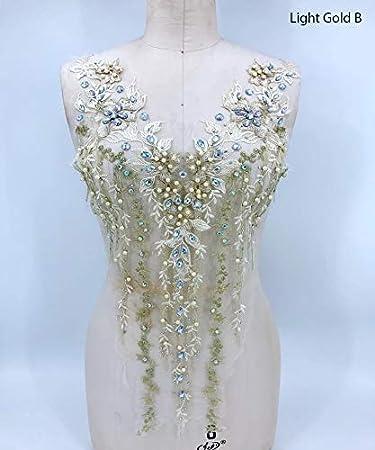 Besatz-Patches Spitzenapplikation 3D mit Perlen bestickt Braut und Ballkleid ideal f/ür Handarbeiten A2AB A gold Strass Hochzeit Mieder Ausschnitt Blumen