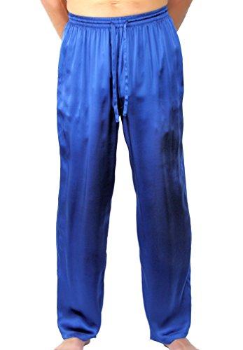NYTEEZ Men's Silk Pajama Bottoms Lounge Pants (Medium, Blue)