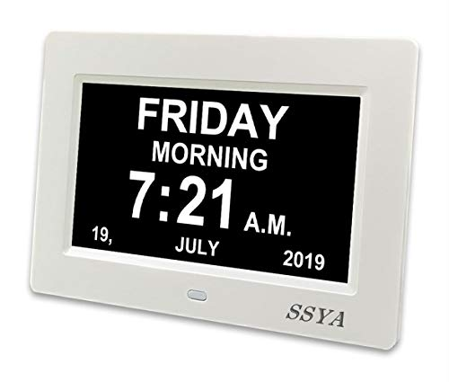 SSYA Digital Calendar Alarm Day Clock - 12 Alarm Options, Level 5 Auto Dimmable, Dementia Clocks for Vision Impaired, Elderly, Memory Loss Clock with Non-Abbreviated Clock with Date and Day (7 inch)