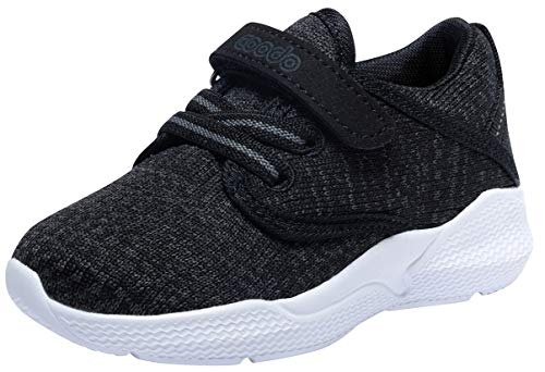 COODO Toddler Kid's Sneakers Boys Girls Cute Casual Running Shoes (10 Toddler,Black)