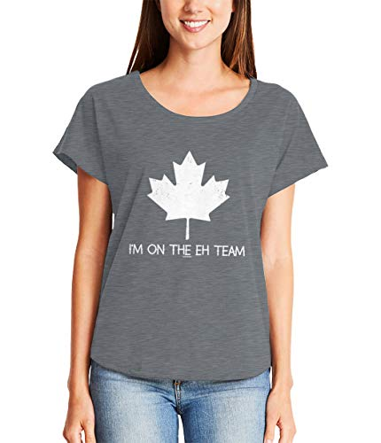 I'm On The Eh Team - Canadian Canada Ladies Dolman (Charcoal, Small)