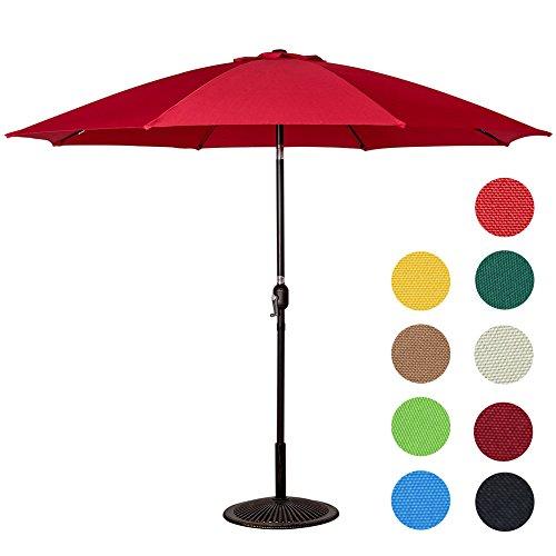 Sundale Outdoor 9 Feet Aluminum Patio Umbrella with Crank and Push Button Tilt, 8 Fiberglass Ribs (Red)