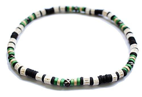 Green Beads White Shark Bones Beads Surfer Beach Elastic Necklace Boy Men Hawaiian Natural (Bone Surfer Necklace)