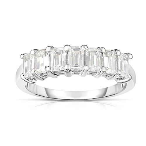 Noray Designs 14K White Gold 7-Stone Emerald Cut Diamond (1.40 Ct, G Color, VS Clarity) - 14k Diamond Emerald Cut Wg