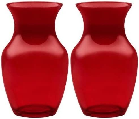 8 Glass Rose Vase Case of 2 999 Translucent Red