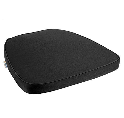 Prime Comfort Chair Pad | Seat Padded Cushion with a Polycore Thread Soft Fabric, Straps and Removable Zippered Cover (Black) by Prime Comfort