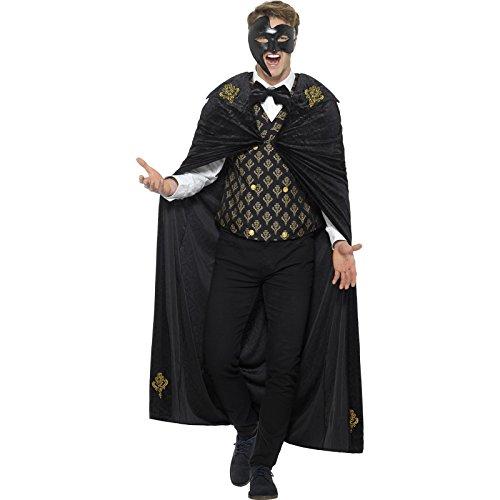Smiffy's Men's Deluxe Phantom Costume, Black/Gold, Large