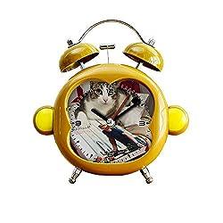 GIRLSIGHT1 Children's Room Monkey Style Silent Alarm Clock Twin Bell Mute Alarm Clock Quartz Analog Bedside and Desk Clock with Nightlight- 088.Chef Mario. Gordon Ramsay Kitchen Recipe Book cat