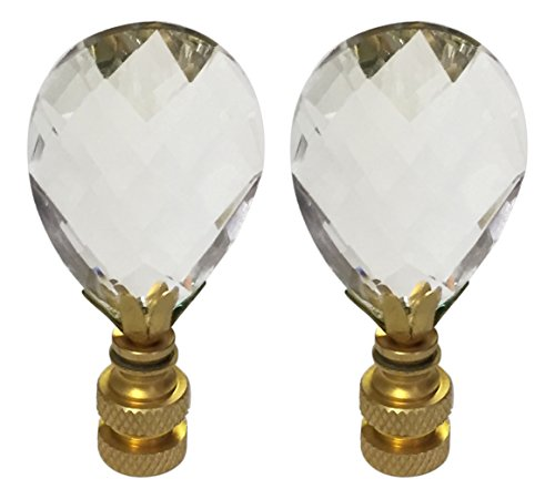 Royal Designs CCF2006M-PB-2 Medium Diamond Swiss Cut Clear K9 Crystal Finial for Lamp Shade with Polished Brass Base Set of 2, 2 Piece