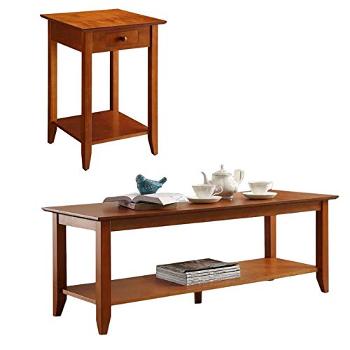 Convenience Concepts 2 Piece Heritage Coffee Table and End Table with Drawer Set in Cherry ()