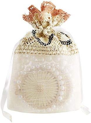 ギフトバッグ、10個 - ベージュ波状レースメッシュバッグを受け、ソリッドカラー巾着キャンディジュエリーバッグ、パーティ/結婚式/クリスマスギフトバッグ、10 * 14cmの よくできた