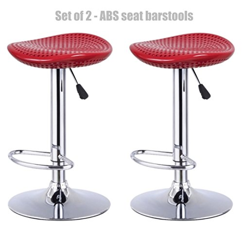 Modern Style High-Gloss ABS Seat Bar stool Adjustable Height 360 Degree Swivel Seat Stable Footrest Durable Premium Chrome Frame Office Pub Chair New Red - Set of 2 - Premium Outlets Nj