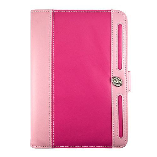 Magenta Pink Protective Slim and Durable Professional Faux Leather Portfolio Cover Carrying Case with Memory Card Slots for HTC Flyer 3G WiFi HotSpot GPS 5MP 16GB Android OS AD2P 7 Inch Tablet Device + Includes a eBigValue (TM) Determination Hand Strap +