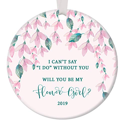 Will You Be My Flower Girl? 2019 Christmas Ornament Bride Proposal Bridal Wedding Party Ask Niece Goddaughter Little Child Pretty Pink Floral Present 3