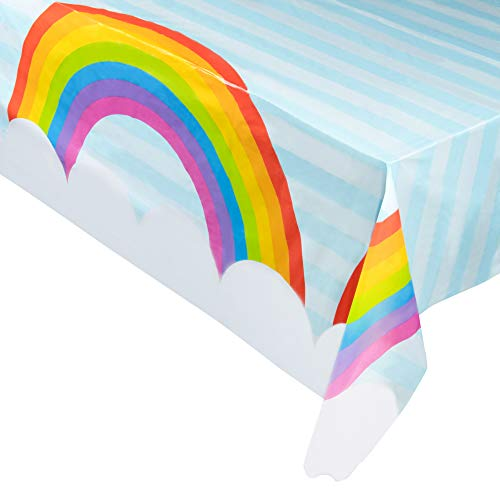 Juvale 6-Pack Rainbow Plastic Tablecloth - Rectangle 54 x 108 Inch Disposable Table Cover, Fits Up to 8-Foot Long Tables, Unicorn, Fantasy Themed Decorations, Rainbow Party Supplies, 4.5 x 9 Feet]()