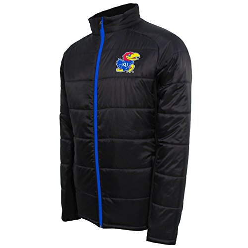 NCAA Kansas Jayhawks Men's Campus Specialties Full Zip Quilted Puffer Jacket, Carbon/Royal, Medium