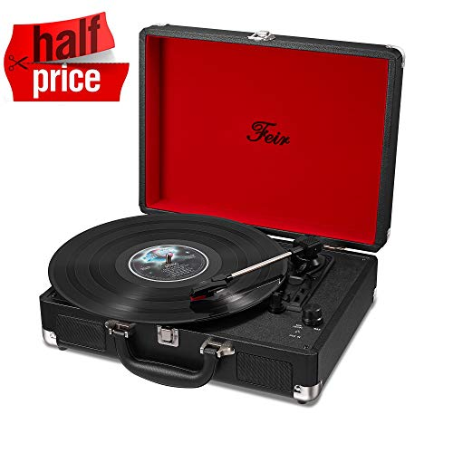 Vinyl Stereo Black Record Player 3 Speed Portable Turntable Suitcase Built in 2 Speakers RCA Line Out AUX Headphone Jack PC Recorder (Best Vinyl Record Player)