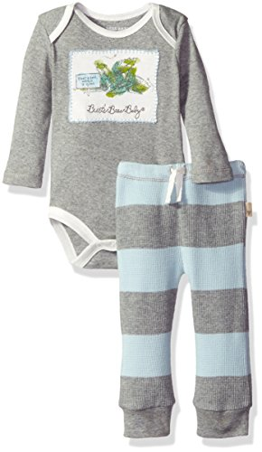 Burt's Bees Baby Boys' Organic Bodysuit + Thermal Pant Set, Sky, 24 Months (Thermal Clothes For Toddler compare prices)