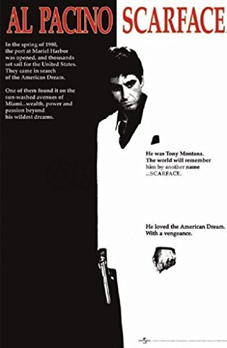 Scarface Movie Pacino Black Poster