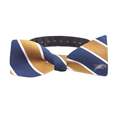 ZEP-PRO NCAA Georgia Southern Eagles Mens Woven Silk Repp Stripe Collegiate Logo Bow-Tie 1, Navy and Gold, One Size