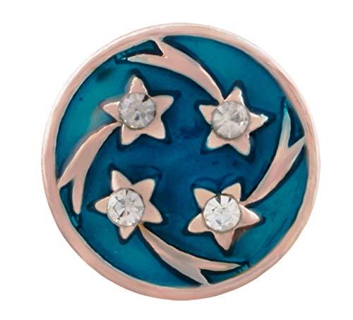 Rockin Angels Rose Gold Shooting Rhinestone Stars Teal 12mm Mini Snap Charm for Ginger -