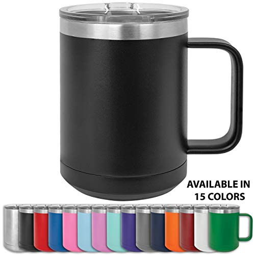 Clear Water Home Goods - 15 oz Double Wall Coffee Mug with Lid and Handle, Double Insulated Stainless Steel Travel Tumbler Cup - Powder Coated Black ()