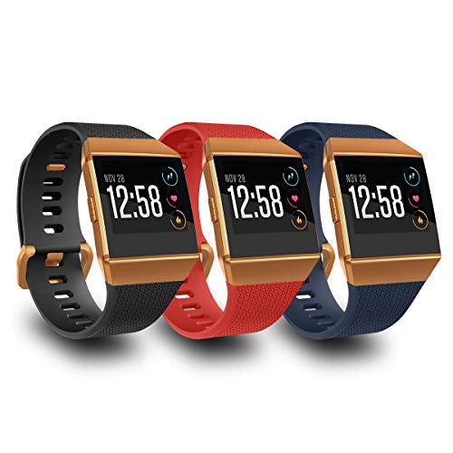 AIUNIT Compatible Fit bit Ionic Bands for Men Women Teens Kids Large with Burnt Orange Buckle, Replacement Strap Sport Accessory Wristband for Fit bit Ionic Smart Watch Black Red Navy