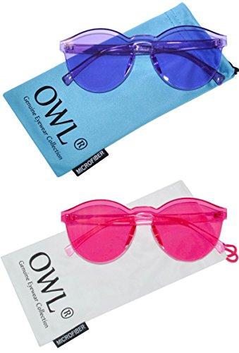 2 Pairs Colorful Transparent Round Retro Women's Fashion Designer Sunglasses Plastic Frame Purple Lens Pink Lens OWL