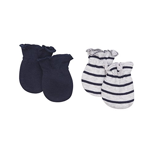 Petit Lem Baby Boys 2-Pack Mitts, Organic Cotton, Adorable, Soft and Comfortable, navy OS