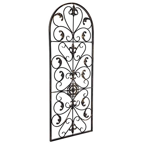 AK Energy Arched Wrought Black Iron Wall Art Sculpture Vintage Tuscan Indoor Outdoor Gate Decor (Gate Arched Iron)