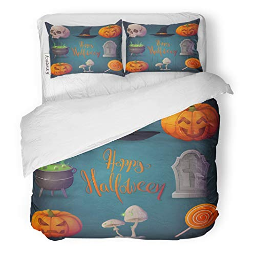 Tarolo Bedding Duvet Cover Set Happy Halloween Terrible Pumpkin Funny Witch Cauldron Hat Gravestone Lollipop Human Skull and Poisonous 3 Piece King 104
