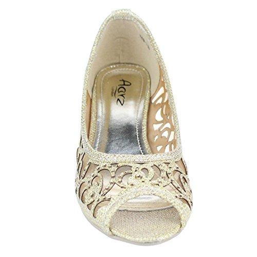 Dorado LONDON vestir de Zapatos Material para AARZ Sintético dorado mujer de Ztzwddaq