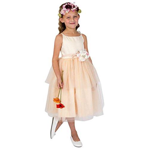 David's Bridal Spaghetti-Strap Tulle Flower Girl/Communion Dress Style 101UA, Peach, 6
