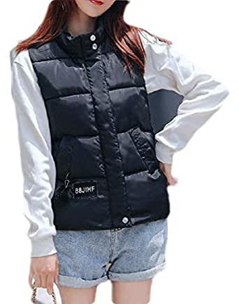 Macondoo Womens Outwear Quilted Sleeveless Warm Fall Winter Down Vest Coat Black XS