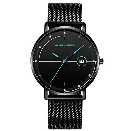 Men's Watches Luxury Fashion Casual Dress Black Stainless Steel Waterproof Mesh Wristwatch with Date for Men