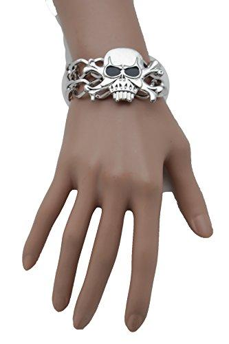TFJ Women Silver Metal Chain Wrist Fashion Bracelet Skeleton Skull Pirate Charm Jewelry (Biker Dude Halloween Costume)