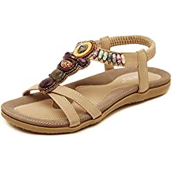 Baqijian Flats Flip Flops 2017 New National Style Women Sandals Flats Beaded Size Shoes Summer Shoes Women Shoes Beige 11