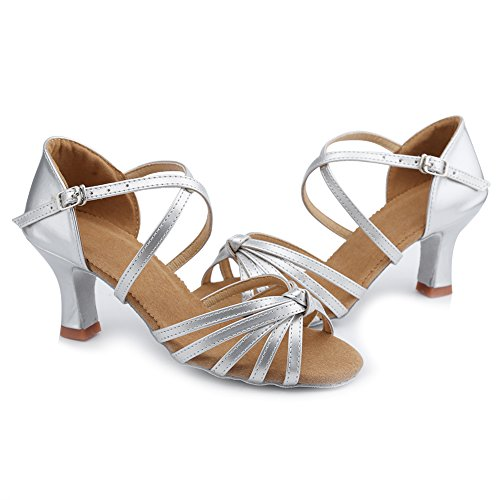 salón Cruzadas WZJ Tiras Modelo Abierta Punta de 7cm Plateado de Cl Baile HIPPOSEUS Zapatillas Latino Mujer AxwF7qAt8