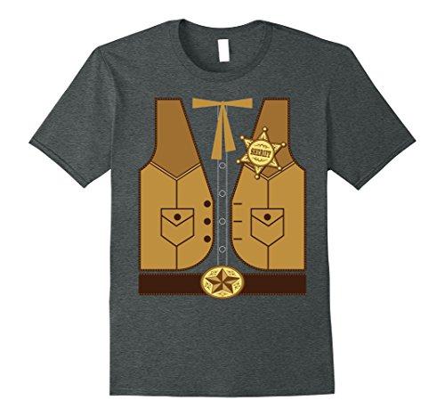 [Mens Western Cowboy Sheriff T-Shirt or Halloween Costume 2XL Dark Heather] (Wild Man Costumes)