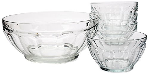 Circleware Popular Tempered Decorative Glass Fruit and Salad Bowl Dishes, Set of 5, 4-5.5