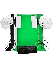 Onof Set de Estudio Fotográfico Kit de iluminación para fotografía, sombrillas, softbox, 3 Fondos y Bolsa para Transportar, Set fotografico Profesional para Foto y Video
